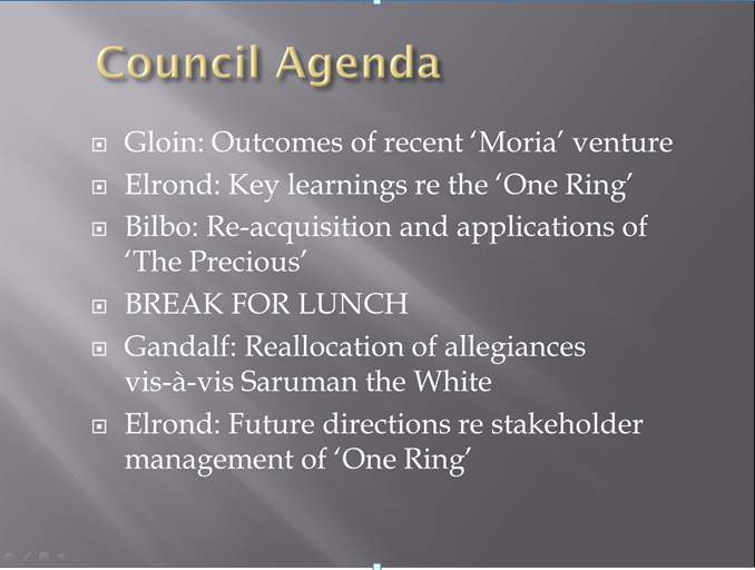 council of elrond agenda