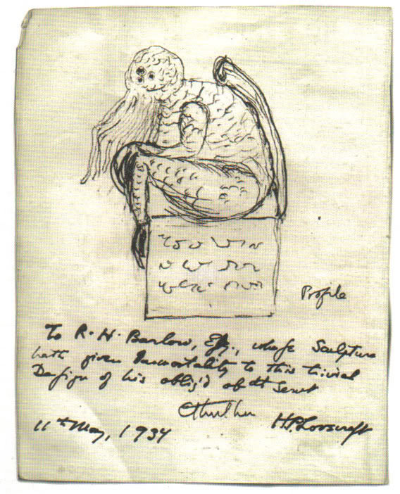Cthulhu sketch by H.P. Lovecraft via wikimedia commons